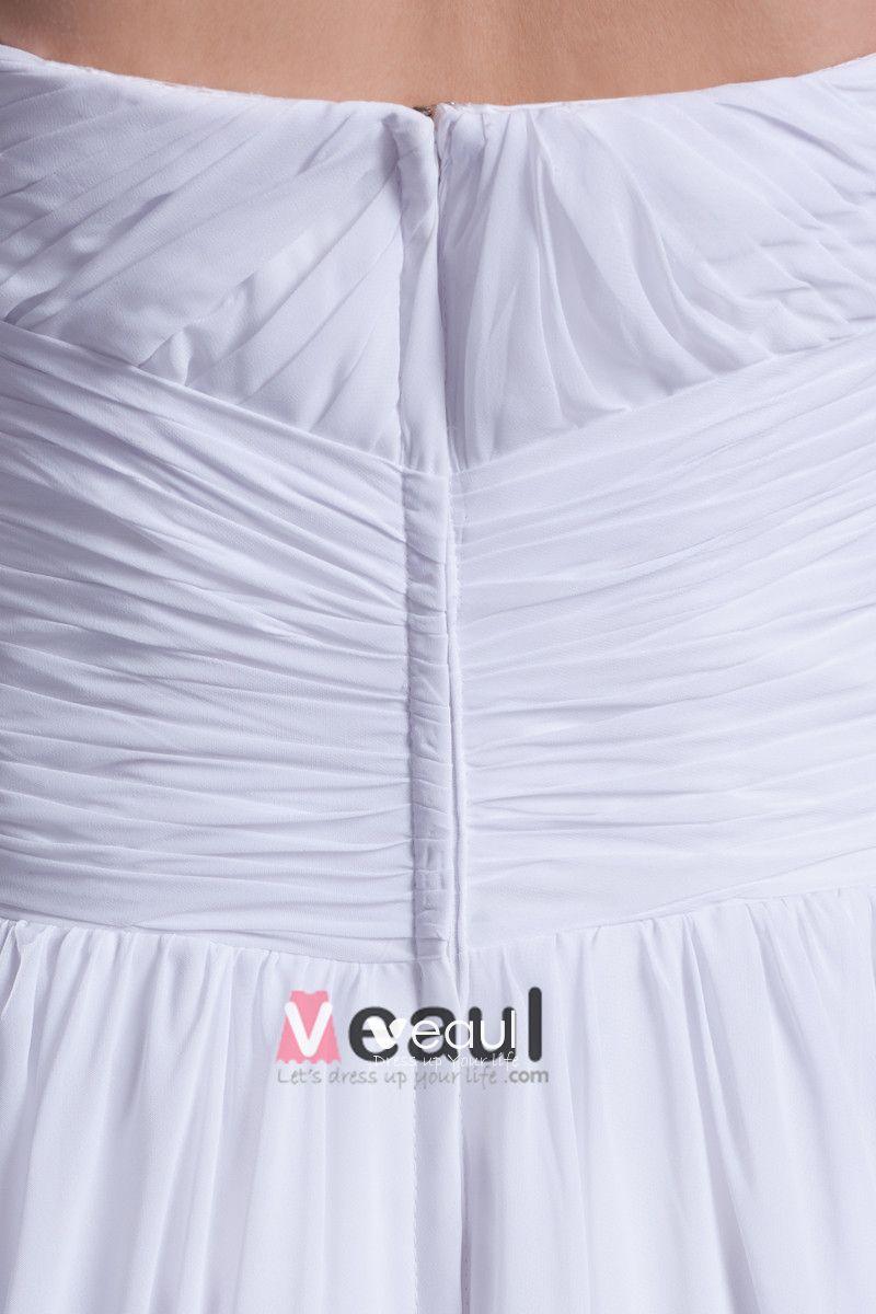 Sweetheart Pleated Floor Length Chiffon Empire Wedding Dress