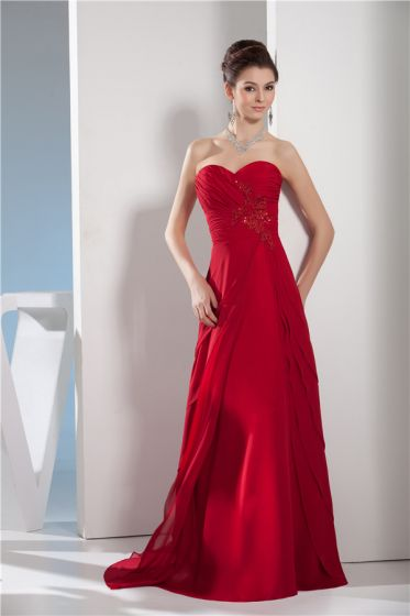 Sexy Red Evening Dress Sweetheart Strapless Long Formal Dress