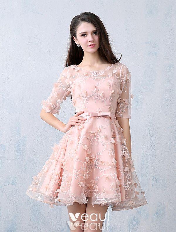 Schöne Partykleider 2016 U-ausschnitt Perle Rosa Spitzen ...