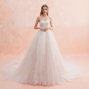 Elegant Ivory Wedding Dresses 2019 Empire Sweetheart Sleeveless Backless Appliques Lace Glitter Sequins Cathedral Train Ruffle