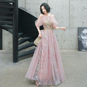Moda Rumieniąc Różowy Sukienki Wieczorowe 2020 Princessa Posiadacz Frezowanie Cekinami Cekiny Z Koronki Kwiat Kótkie Rękawy Bez Pleców Długie Sukienki Wizytowe