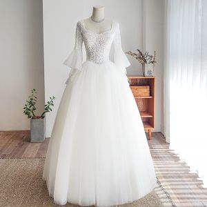 Elegant Ivory Wedding Dresses 2019 Ball Gown Square Neckline Beading Sequins Bell sleeves Backless Floor-Length / Long