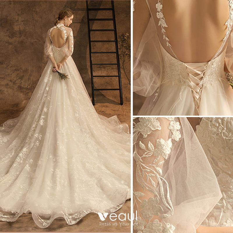 Elegant Champagne Wedding Dresses 2019 A-Line / Princess High Neck Lace Flower 3/4 Sleeve Backless Chapel Train