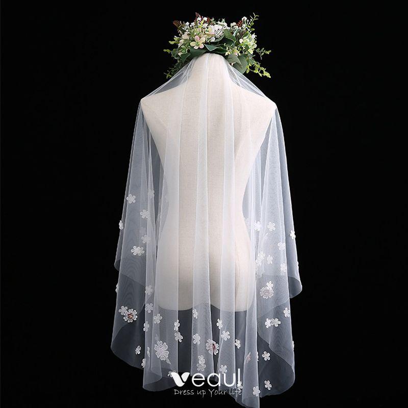 Chic / Beautiful White Short Wedding Veils Lace Flower Chiffon Wedding Accessories 2019