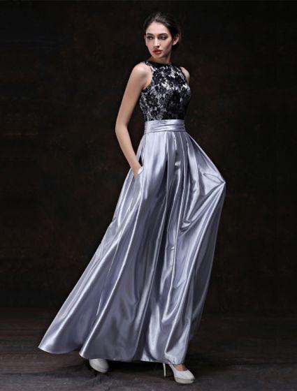 Mode Abendkleider 2016 A-linie U-ausschnitt Schwarzer Spitze Rüsche Silber Satin Rückenfreies Kleid