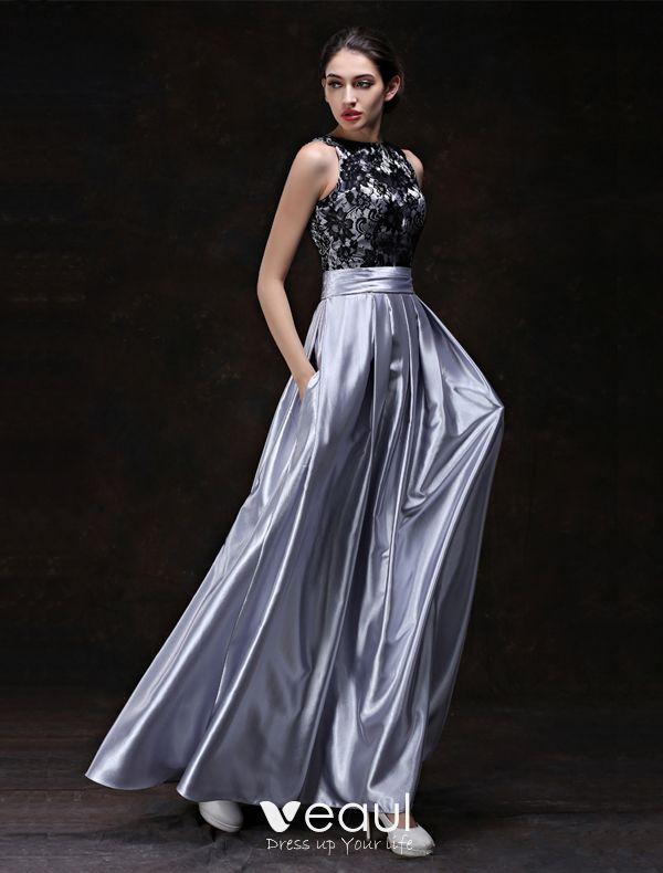 Mode Abendkleider 2016 A-linie U-ausschnitt Schwarzer ...