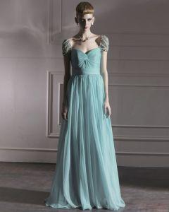 Tulle De Soie Charmeuse Portrait Perles Robe De Soirée De Longueur