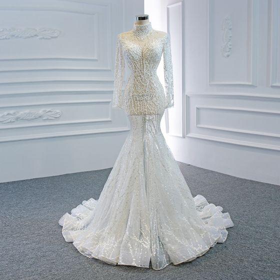 Luksusowe Białe Przezroczyste ślubna Suknie Ślubne 2020 Syrena / Rozkloszowane Wysokiej Szyi Długie Rękawy Wykonany Ręcznie Frezowanie Trenem Sąd