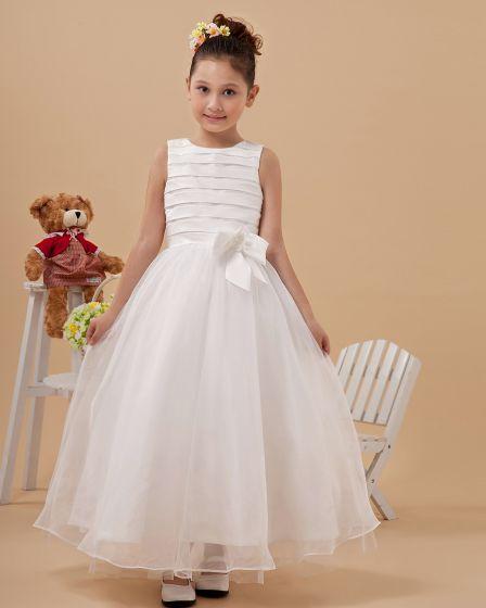 Round Neck Bowknot Yarn Ankle Length Flower Girl Dress