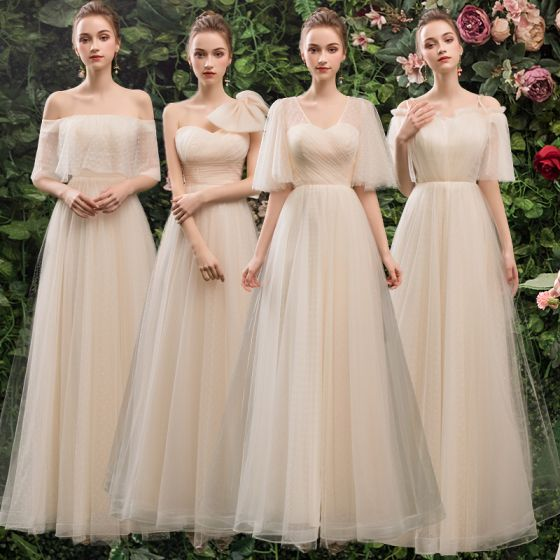 Affordable Champagne Bridesmaid Dresses 2019 A-Line / Princess Spotted Tulle Floor-Length / Long Ruffle Backless Wedding Party Dresses