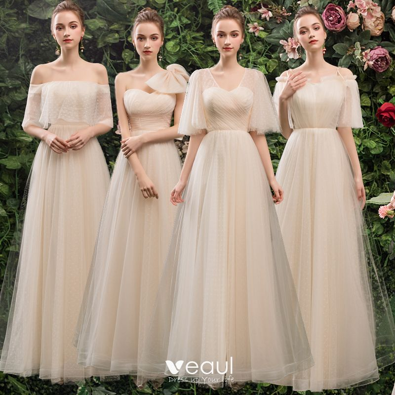 Long Ruffle Backless Wedding Party Dresses