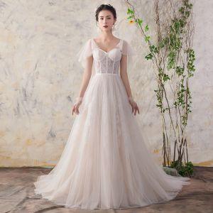 Eleganckie Szampan Suknie Ślubne 2018 Princessa Z Koronki V-Szyja Bez Pleców Kótkie Rękawy Trenem Sąd Ślub
