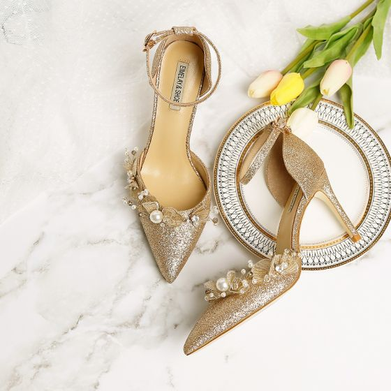 Chic / Beautiful Bling Bling Champagne Wedding Shoes 2019 9 cm Wedding High Heels Leather Butterfly Beading Pearl Pointed Toe Womens Shoes