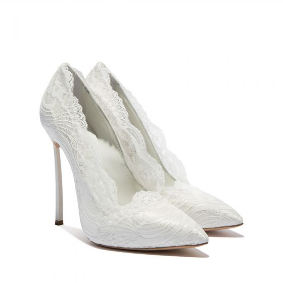 Sexy Ivory Lace Wedding Shoes 2019 10 cm Stiletto Heels Pointed Toe Wedding Pumps
