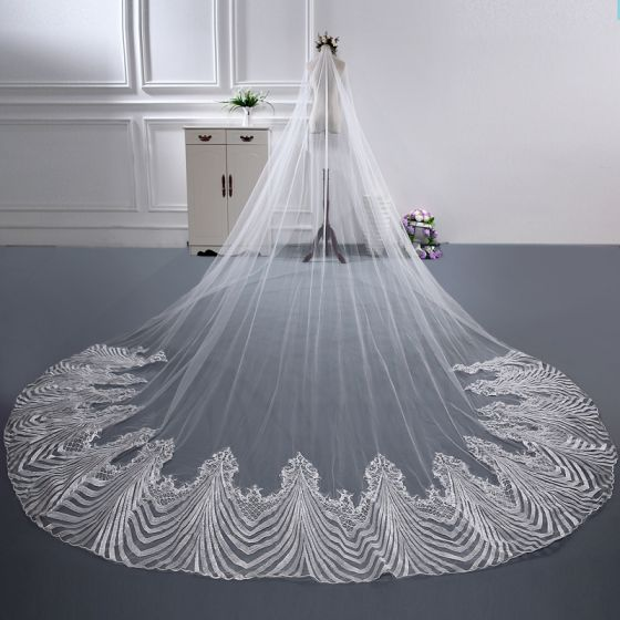 Chic / Beautiful Cathedral Train White Wedding Tulle Appliques Wedding Veils 2018