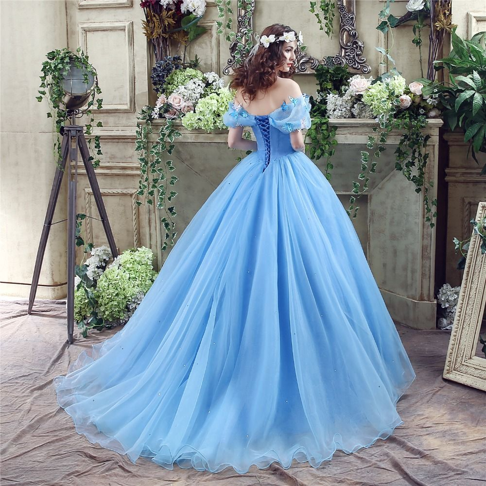 Cinderella Pool Blue Prom Dresses 2017 Off-The-Shoulder Short Sleeve Beading Rhinestone Butterfly Sweep Train Glitter Organza Ball Gown Formal Dresses