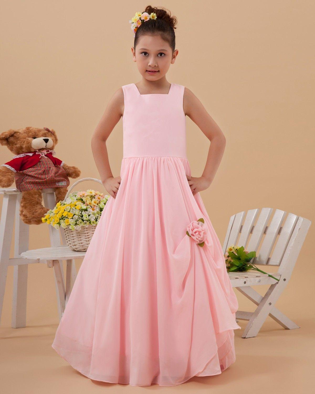 Taffeta Flower Ruffle Square Neck Floor Length Flower Girl Dresses