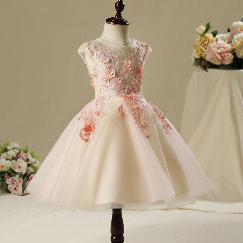 Chic / Beautiful Hall Wedding Party Dresses 2017 Flower Girl Dresses Blushing Pink A-Line / Princess Knee-Length Scoop Neck Sleeveless Lace Flower Appliques Pearl