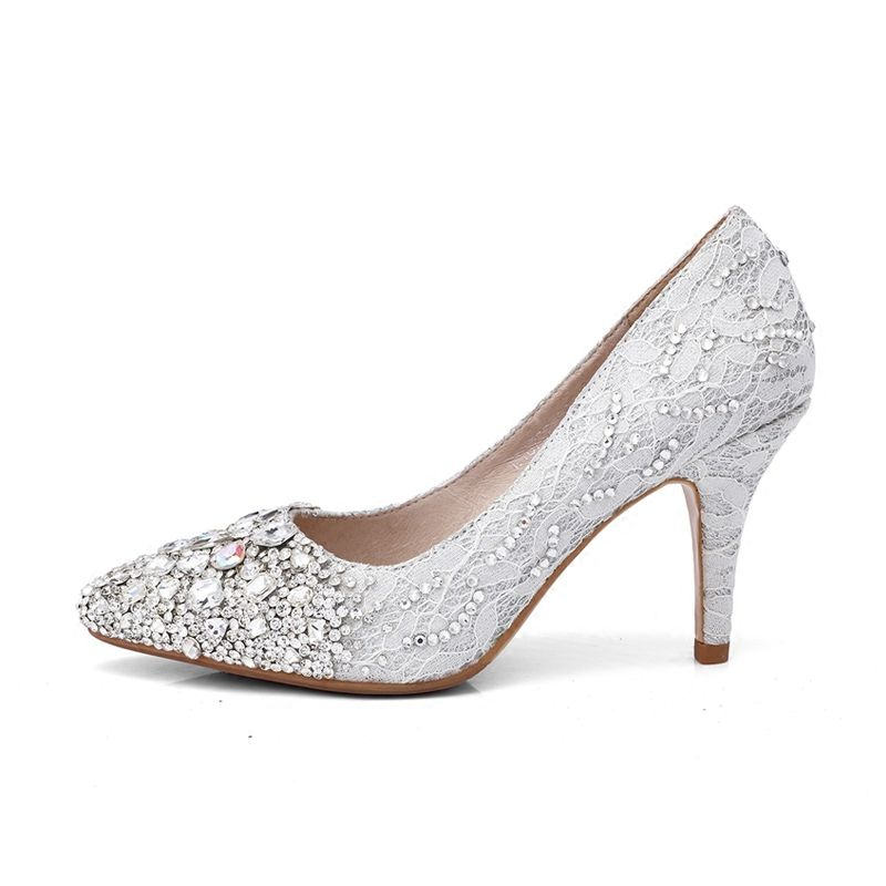 0e8ee4bbd0f Sparkly Silver Wedding Shoes 2018 Lace Crystal Sequins Leather 8 cm ...