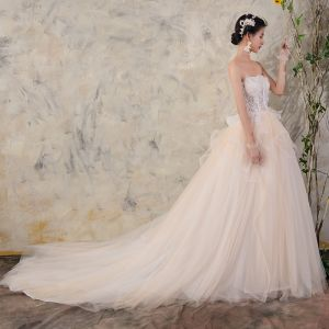 Chic / Beautiful Champagne Wedding Dresses 2018 Ball Gown Lace Sequins Organza Cascading Ruffles Strapless Sleeveless Backless Cathedral Train Wedding