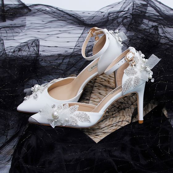 Elegantes Marfil Rhinestone Zapatos de novia 2020 Perla Correa Del Tobillo 9 cm Stilettos / Tacones De Aguja Punta Estrecha Boda De Tacón