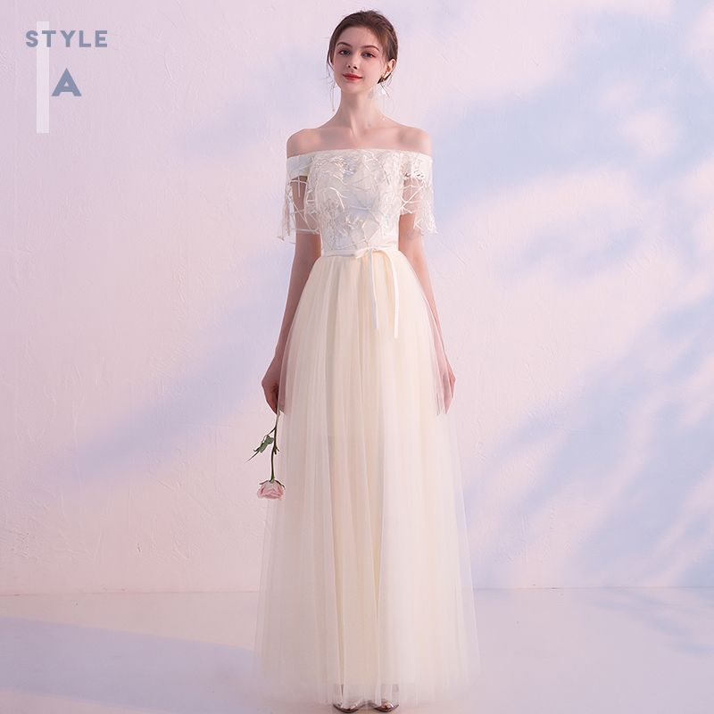 Affordable Champagne Bridesmaid Dresses 2019 A-Line / Princess Sash Appliques Lace Floor-Length / Long Ruffle Backless Wedding Party Dresses