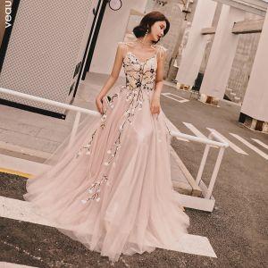 Schöne Rosa Sommer Abendkleider 2018 A Linie Applikationen Schleife Spaghettiträger Rückenfreies Ärmellos Lange Festliche Kleider