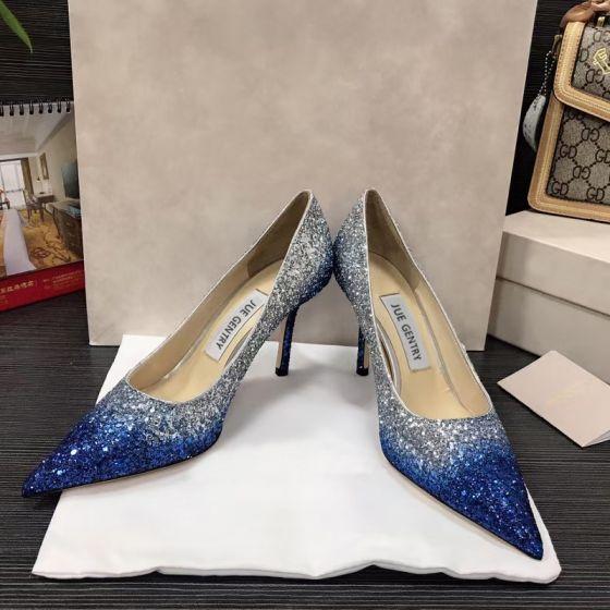 Brillante Océano Azul Noche Lentejuelas Tacones 2021 Cuero 8 cm Stilettos / Tacones De Aguja Punta Estrecha Tacones High Heels