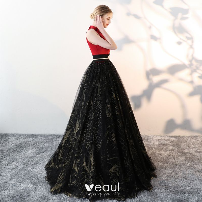 Chic / Beautiful Black Prom Dresses 2018 A-Line / Princess Tulle High Neck Appliques Beading Printing Prom Formal Dresses