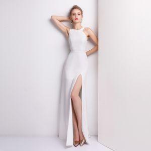 Eenvoudige Witte Avondjurken 2018 A lijn Lange U-hals Rits Polyester Avond Gelegenheid Jurken