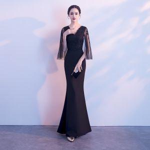 Chic Couleur Unie Noire Robe De Soirée 2019 Trompette / Sirène V-Cou En Dentelle Fleur 3/4 Manches Dos Nu Longue Robe De Ceremonie