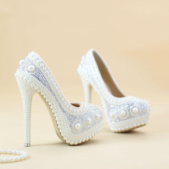 hermoso blanco perla zapatos de novia 2019 rhinestone 14 cm