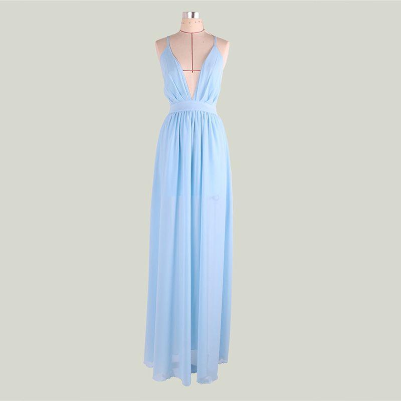 Sexy Hemelsblauw Chiffon Zomer Maxi-jurken 2018 V-Hals Spaghettibandjes Mouwloos Split Voorzijde Lange Ruche Ruglooze Dameskleding