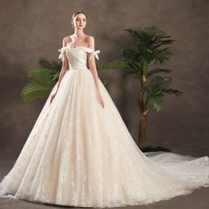 Classy Champagne Wedding Dresses 2019 A-Line / Princess Off-The-Shoulder Bow Short Sleeve Backless Glitter Appliques Lace Chapel Train Ruffle