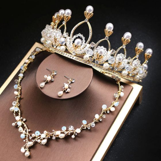 Affordable Gold Bridal Jewelry 2019 Metal Pearl Rhinestone Crystal Tiara Necklace Earrings Accessories
