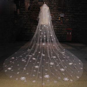 Tailing Super Langen Weißen Spitzen Blumen Schleier Weichen Brautschleier