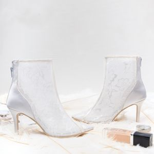Classy Ivory Wedding Shoes 2019 Leather Lace 8 cm Stiletto Heels Pointed Toe Wedding Boots