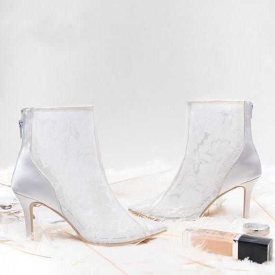 Classy Ivory Wedding Shoes 2019 Leather