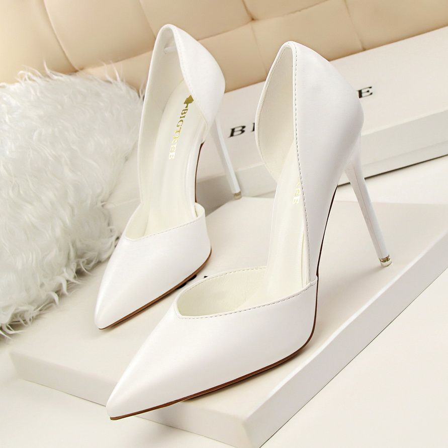 Elegant 2017 8 cm / 3 inch Black Candy Pink Grey White Yellow Office PU Summer Pierced High Heels Stiletto Heels Pumps