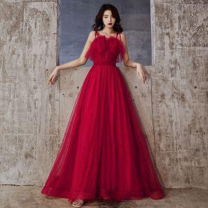 Hermoso Borgoña Vestidos de noche 2020 A-Line / Princess Spaghetti Straps Rebordear Crystal Sin Mangas Sin Espalda Largos Vestidos Formales