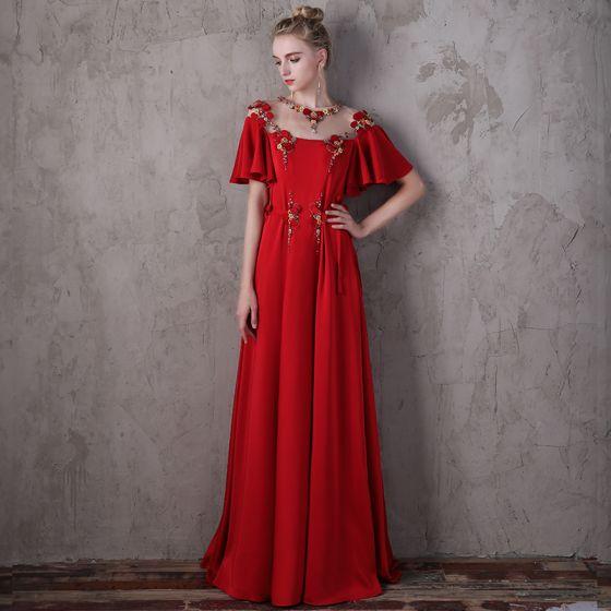 Blomma Fe Röd Aftonklänningar 2018 Prinsessa Urringning 1/2 ärm Appliqués Blomma Beading Pärla Rhinestone Långa Ruffle Halterneck Pierced Formella Klänningar