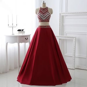 Sparkly 2 Piece Burgundy Prom Dresses 2017 A-Line / Princess Scoop Neck Sleeveless Beading Crystal Rhinestone Floor-Length / Long Satin Formal Dresses