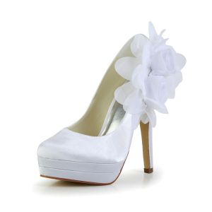 Classique Blanc Chaussures De Mariée Escarpins À Talon Haut Plateforme