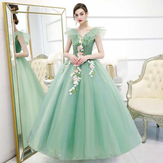 Flower Fairy Mint Green Prom Dresses 2020 Ball Gown V-Neck Sleeveless Appliques Flower Beading Pearl Floor-Length / Long Ruffle Backless Formal Dresses