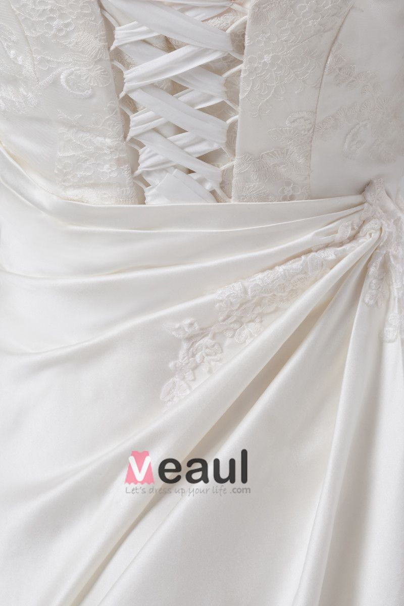 Lace Satin Ruffle Flower Square Collar Court Train Ball Gown Women A Line Wedding Dress