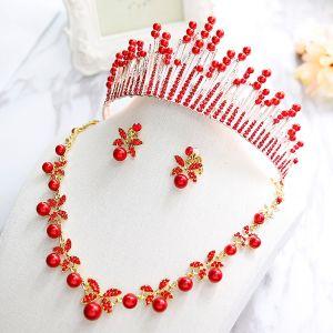 Mooie / Prachtige 2017 Rode Zilveren Kristal Rhinestone Metaal Tiara Bruidssieraden
