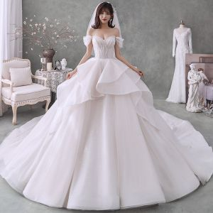 Romantic Champagne Bridal Wedding Dresses 2020 Ball Gown Off-The-Shoulder Short Sleeve Backless Beading Glitter Tulle Cathedral Train Ruffle