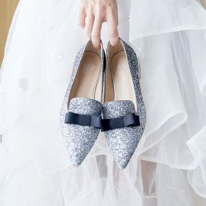 Sparkly Silver Wedding Shoes 2019 Sequins Bow Pointed Toe Flat
