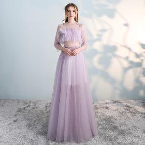 Fantastiske / Unike Rødmende Rosa Ballkjoler 2018 Prinsesse Scoop Halsen 3/4 Ermer Lange Formelle Kjoler