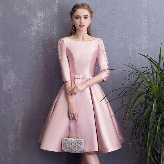 Hermoso Rosa de fiesta Vestidos de graduación 2018 A-Line / Princess Bowknot Perla Scoop Escote Sin Espalda 3/4 Ærmer Por La Rodilla Vestidos Formales